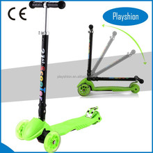 Adjustable and folding kick scooter with 4 lighted wheel