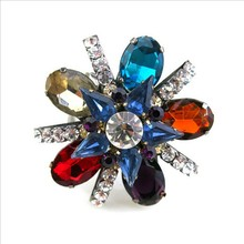 2015 New product handmake colorful acrylic flower shape engagement ring wholesale