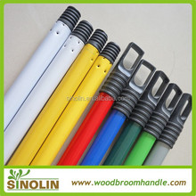 SINOLIN pvc coated iron broom stick/painted iron mop handle/plastic coated iron mop stick