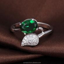 2015 Brass Material Mirco Pave Beautiful Green Zircon Ring