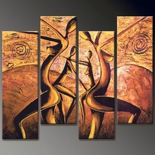 handmade home decor abstract dancing naked woman group 4 panel oil paintings on canvas