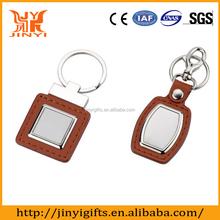 High quality genuine Leather with metal custom leather keychain