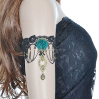 Green Flower pendant lace bracelet wholesale lady wedding part gift upper arm bracelet armlet wholesale