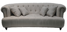 European newest design accent sofa living room button tufted linen fabric arm sofa with throw pillows