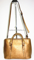 For SS2015 gold shiny pu light gold fitting small tote bag for all ladies tote bag