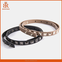 New lady genuine leather thin belt female rhinestone cowhide strap decoration belt for women