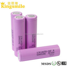 Hot Sale! samsung 26FM 2600mah 3.7V 18650 flat top high quality 18650 Li Ion Battery Cell