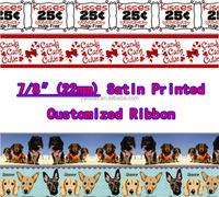 "7/8""(22mm) Satin Printed Customized Logo Ribbon As You Want 1000yard"