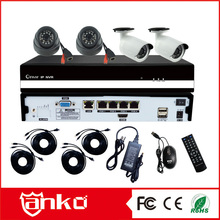 Security Household CCTV POE NVR Kit 4ch IR 20M cameras system with 2 IP waterproof/2ip Dome camera