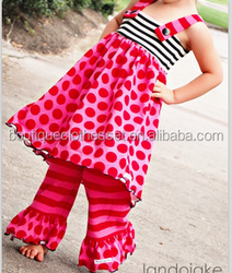 Hot selling holiday outfit cute long polka dot &red striped ruffle pant Saint valentine's day outfit 2016child valentine clothes