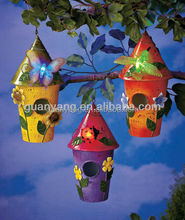 Decorative Metal Hanging Stainless Steel Bird Cage With Colorful Butterfly