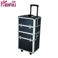Custom Logo Personalized Lockable Aluminum Frame ABS Lighting Makeup Case With Stand