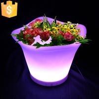 Glowing light up LED flower pot color changeable RGB Colors LED Planters Pot led vase decoration Garden