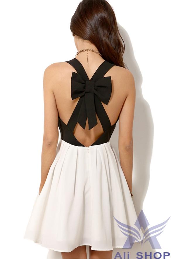 فستان سواريه قصير باللون الآبيض والآسود تحفه HTB1CBY5FFXXXXXxapXXq6xXFXXXq