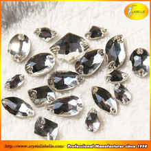 Crystal Clear Sew on Diamante Rhinestone Oval Drop Round Montee Beads