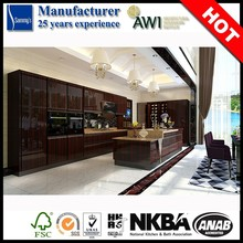 Differnet Kinds of Wood Veneer Options High Gloss PU Wood Kitchen Cabinet