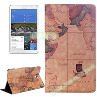 World Map Pattern Flip Leather Case for Samsung Galaxy Tab S 8.4 T700 with Holder