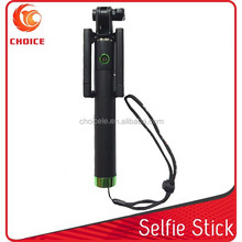 2015 new products mini extendable selfie-stick with built in snap button for selfie portrait