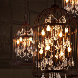 New Decorative Vintage Industial Iron Bird Cage Hanging Pendant Light Metal Cage With Crystal Pendant Lighting