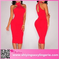 New design sleeveless cocktail dresses red ladies simple fashion dress