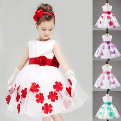 2015 wholesale children's boutique clothing Girls Dresses fashion flower wedding girls party dresses