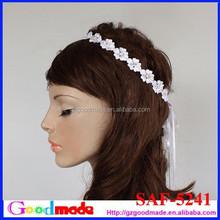 romantic white handmade lace wedding head piece with rhinestone in center