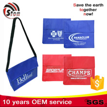 customer logo cheap recyclable top quality non woven shoulder bag with long handle