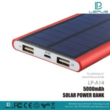 High Capacity Solar Powered Charger Dual USB port Power Bank 5000mAh solar Charger and Battery for Mobile Phone Tablet Cellphon