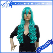 Kanekalon Deep Wave Long Hair Green Cosplay Wig with Heat Resistant