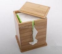 Bamboo tissue box tray with pumping large flip upright