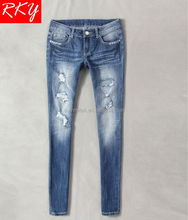 2014 new woman jean rhinestone and iron stub jean with big rip and hole wash