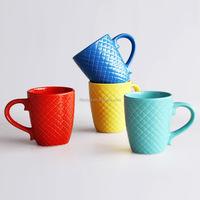 14oz ceramic solid color mug with embossment
