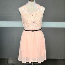 Chiffon dresses with lace fashion &inner jersey lining vest&new women dress style