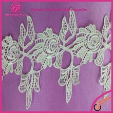 Wholesale Fashion Embroidery Bridal French Lace White Cotton Crochet Lace Trim