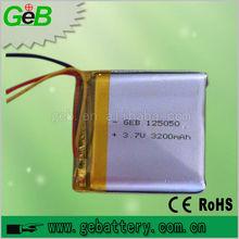 Hot sale! rechargeable Lipo battery 3200mah 3.7V GEB125050 for GPS / li polymer battery 3.7V 3200mah