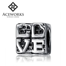 Sterling Silver Love Bead Charm For European Charm 3mm Snake Chain