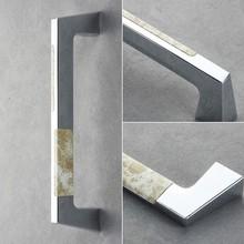 Marble zinc alloy door handle for both wooden door and glass door