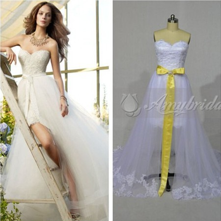 Am0245 taobao detachable skirt wedding dresses in turkey for Wedding dress detachable skirt