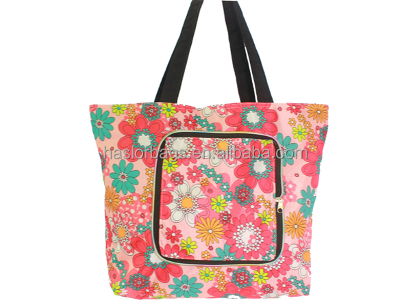 Hotselling nouveau Design Polyester drôle pliable Shopping bag