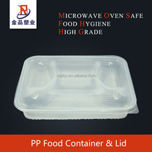 4 compartment PP plastic disposable clear lunch box