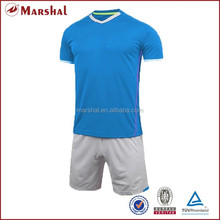 New style blue tops white shorts,Best quality soccer kits,Blank full soccer uniform