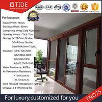Aluminum casement window tilt and turn opening window wood clad aluminum profile
