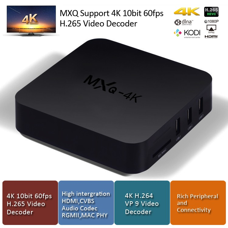 2016 Eny MXQ-4K RK3229 1G/8G Quad Core Smart TV Box hd 4K MXQ Android Tv Box