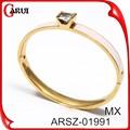 Diseñador de la joyería del brazalete de la joyería tipo pulsera pink rose quartz stone oro alambre envuelto brazalete