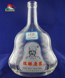 Hot sale embossed clear 1 liter hennessy glass bottle