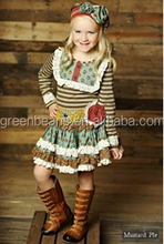 Girls fall boutique outfits bib children skirts suits cheap china wholesale clothing