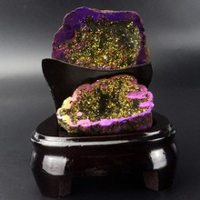 Plated amethyst and agate geode,amethyst geode with stand