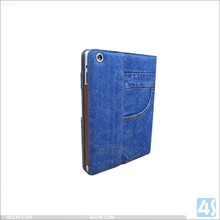Fashionable design Blue Cowboy Leather Notebook Flip Case For Ipad Air