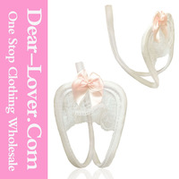 Charming Bowknot Open Crotch White Lace C-String saxi girl