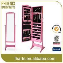 Nice Design Oem Mirror Jewelry Armoire Pink